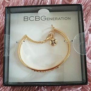 """BCBG open cuff bracelet, """"Blessed"""" logo Brand New"""